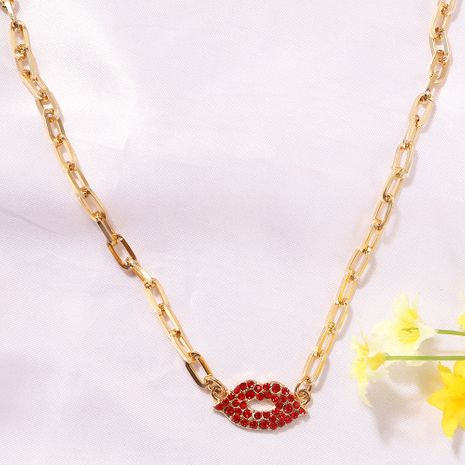 Red super flashing gemstone inlaid lip-shaped fashion wild women's pendant clavicle metal chain NHJQ243062's discount tags