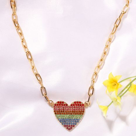 color peach heart diamond fashion wild trend alloy pendant clavicle metal chain for women NHJQ243063's discount tags