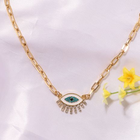 blue and white devil's eyes diamond tassel alloy pendant clavicle metal necklace for women NHJQ243064's discount tags