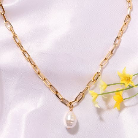 Pure White Pearl Korea Simple Wild Fashion Trendy Girls Pendant Clavicle Metal Chain NHJQ243065's discount tags