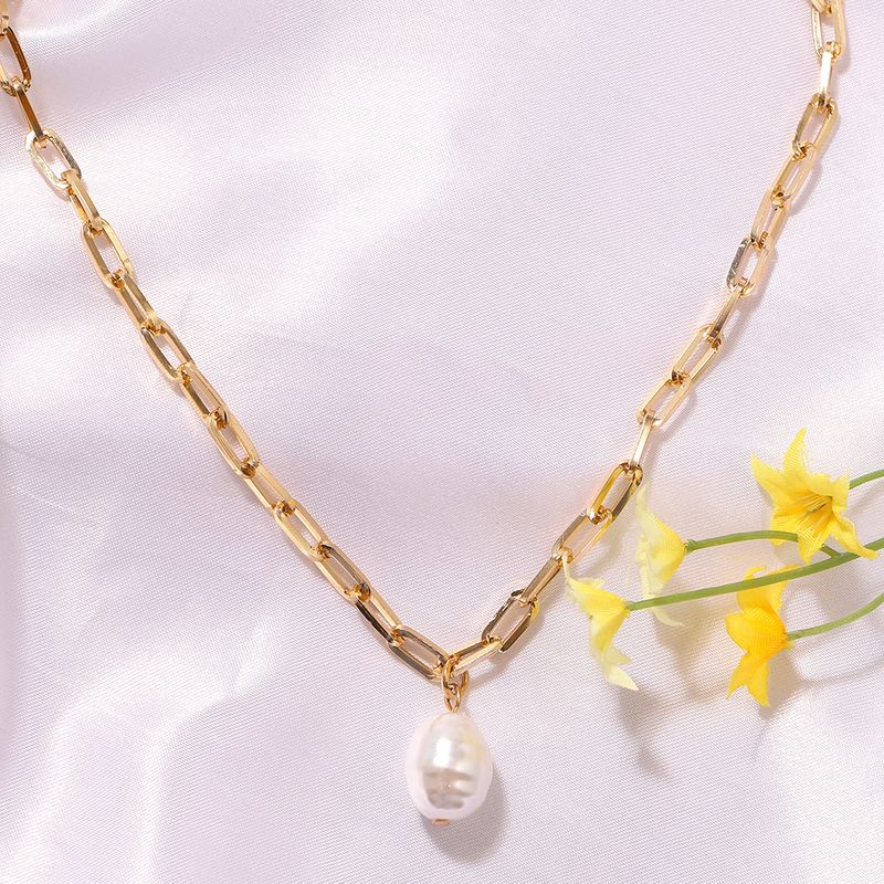 Pure White Pearl Korea Simple Wild Fashion Trendy Girls Pendant Clavicle Metal Chain NHJQ243065