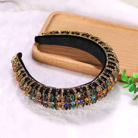 New colored geometric rhombus rhinestones inlaid black plaid headband wholesale nihaojewelry NHJQ243068's discount tags