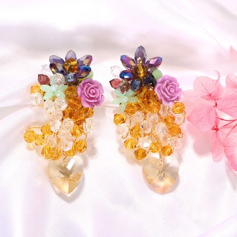 Creative colorful rice stone flower inlaid tropical fruit shape earrings wholesale nihaojewerly NHJQ243070's discount tags