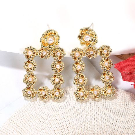 Creative pearl golden rose geometric rectangular exaggerated earrings wholesale nihaojewerly NHJQ243072's discount tags