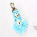 Color cotton sliver handwoven metal ring buckle multishell tassel keychain wholesale nihaojewerly NHJQ243079