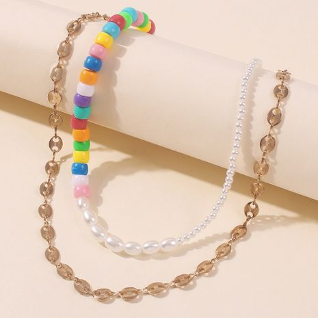 Fashion Multilayer Pearl Rice Beads simple Chain Necklace for women Hot Sale NHMD243082's discount tags