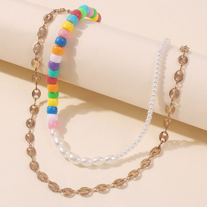 Fashion Multilayer Pearl Rice Beads simple Chain Necklace for women Hot Sale NHMD243082