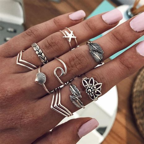 hot sale retro alloy leaf shell  geometric irregular ring set  wholesale nihaojewerly NHMD243083's discount tags