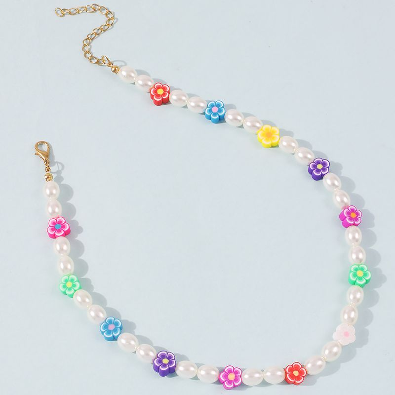 Fashion Trend Bohemian Color Pearl Simple Alloy Chain Necklace NHMD243085