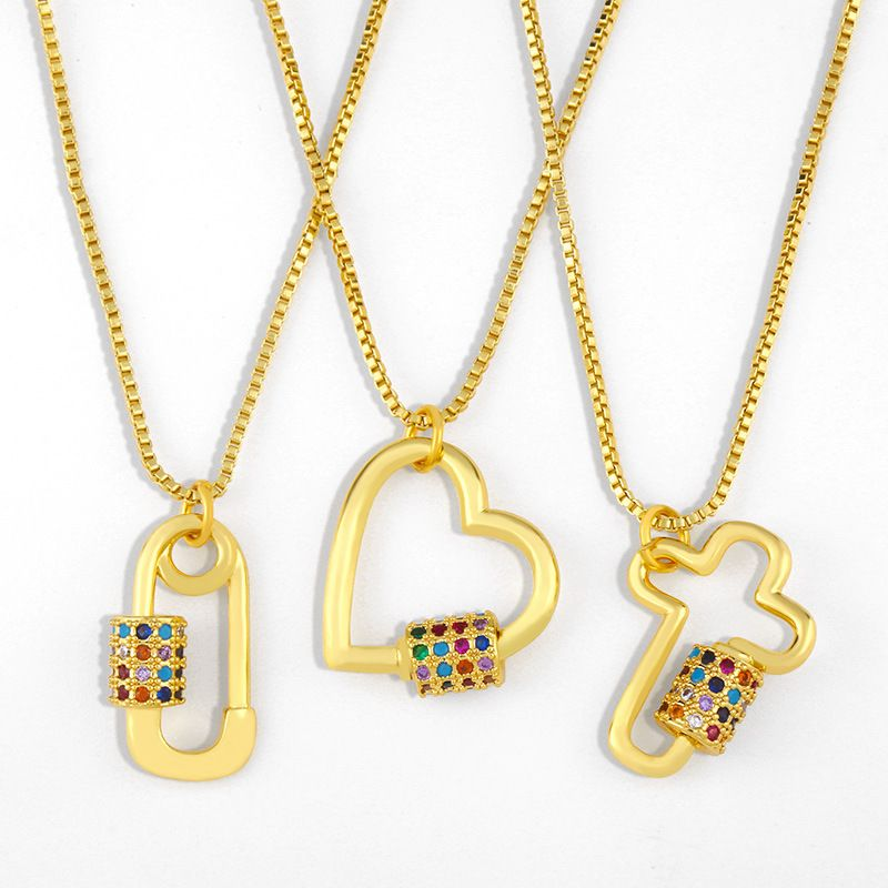 cross necklace creative diamond love pendant copper necklace wholesale nihaojewerly NHAS243087