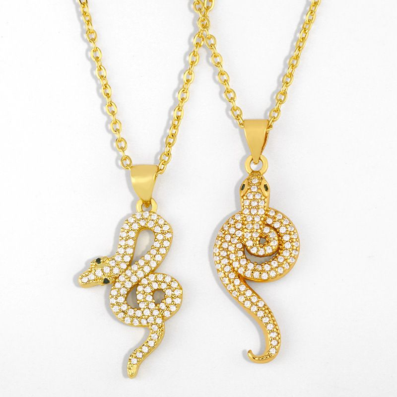 Fashion simple snake-shaped hot-selling new diamond pendant copper necklace NHAS243088