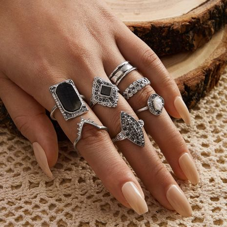 New Retro Hollow Carved V-shaped Diamond Opening Black Gem Ring 7 Piece Set wholesale nihaojewerly NHGY243089's discount tags