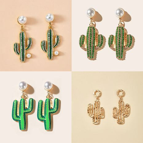 Korea simple forest pearl green cactus earrings wholesale nihaojewerly NHGY243090's discount tags