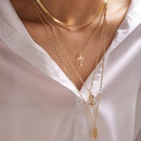 new rose flower alloy multilayer clavicle cross pendant necklace for women NHGY243091