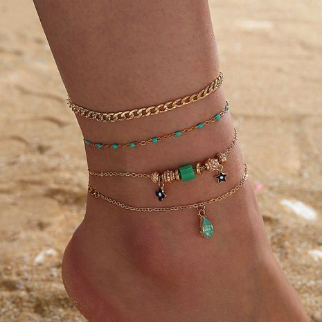 New fashion five-pointed star flower alloy diamond-studded water drop multi-layer foot ornament anklet 4-piece set  NHGY243092's discount tags