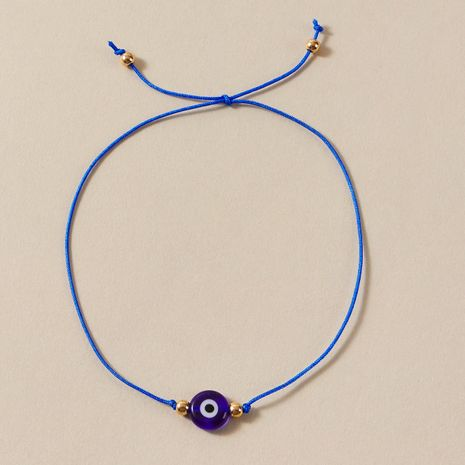 simple new braided rope Devil's eye black blue eye alloy anklet wholesale  NHGY243097's discount tags
