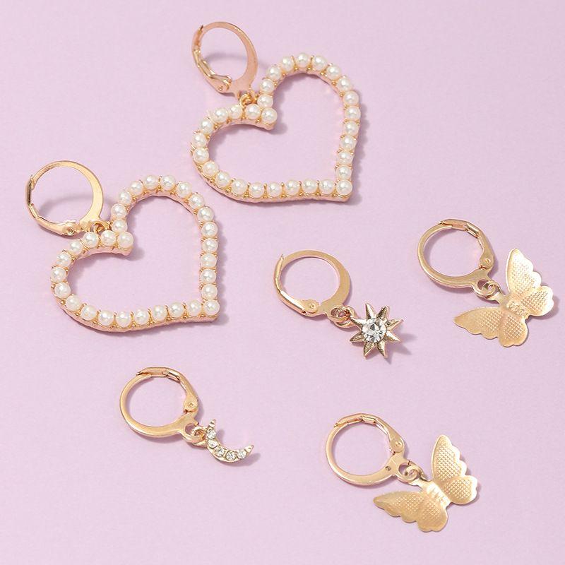 pearl peach heart popular butterfly earrings wholesale nihaojewerly NHNZ243098