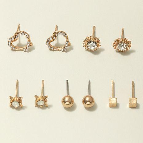 fashion geometric round earrings set diamond love earrings wholesale nihaojewerly NHNZ243099's discount tags