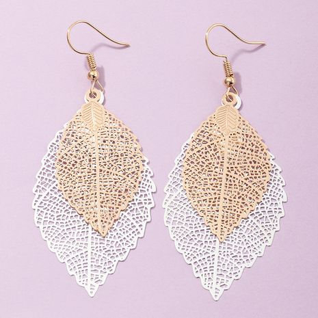 new creative ethnic print hollow leaf earrings wholesale nihaojewerly NHNZ243101's discount tags
