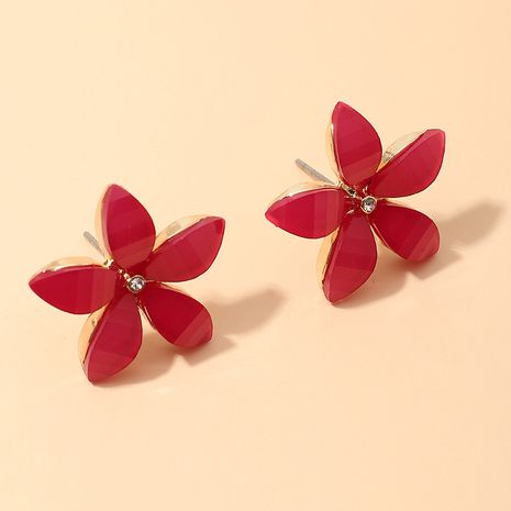 fashion acrylic red flower stud earrings wholesale nihaojewerly NHNZ243102's discount tags