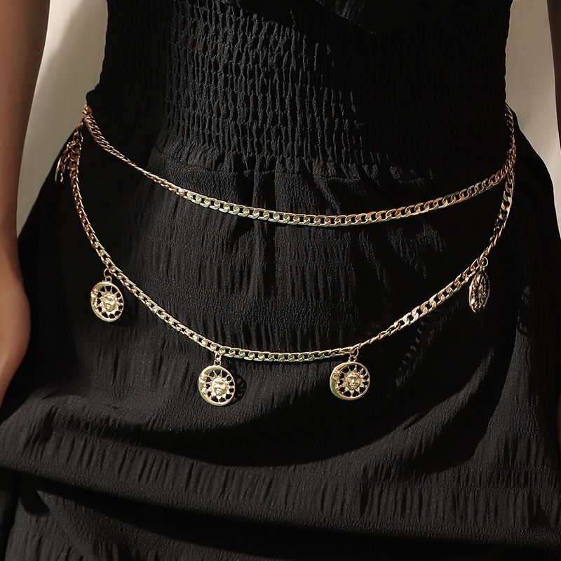 simple  exaggerated sexy pendant  retro tassel multilayer waist body chain NHNZ243110