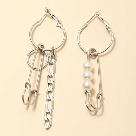 punk hipster pin chain earring simple asymmetric rice bead earrings wholesale nihaojewerly NHNZ243112's discount tags