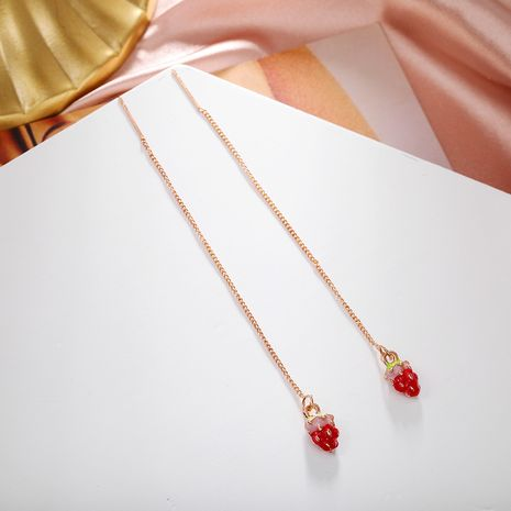 Korean tassel cute strawberry fruit pendant long simple ear line earrings wholesale nihaojewerly NHPF243118's discount tags