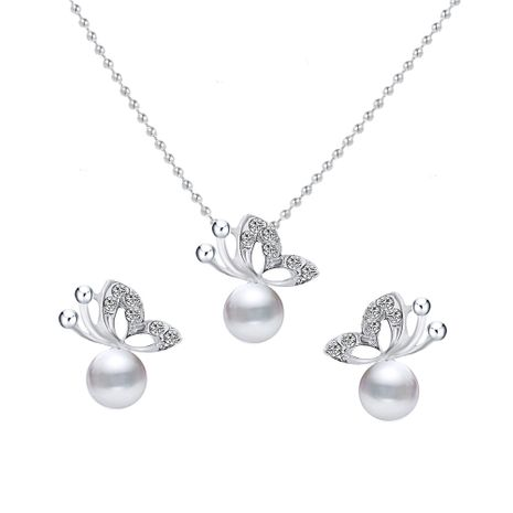 Korea Fashion Simple Full Diamond Butterfly Pearl alloy Earring Necklace Set  NHPF243120's discount tags
