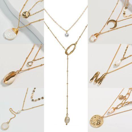 collar de perlas de aleación de agua dulce multicapa versátil de moda de concha natural de gran venta NHAN243123's discount tags