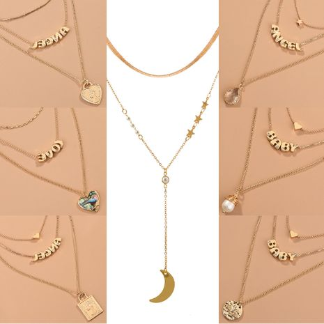 Korean niche 26 letters simple fashion versatile multi-layer alloy necklace  NHAN243124's discount tags
