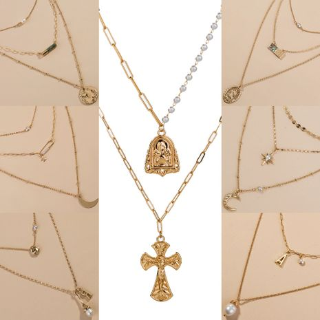 new products Roman cross portrait multilayer pendant exaggerated necklace  NHAN243130's discount tags