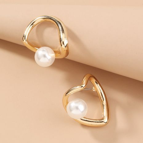metal hollow love pearl retro fashion all-match earrings wholesale nihaojewelry NHAN243135's discount tags