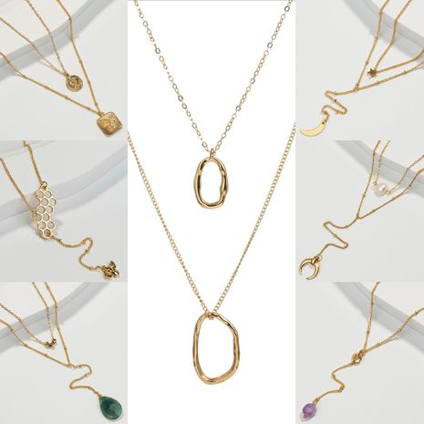 hot-selling simple women's crescent multi-layer niche alloy necklace NHAN243137's discount tags