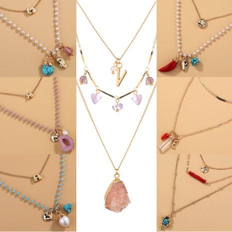 Collier de vente chaude en pierre naturelle rétro de style ethnique en métal multicouche en alliage NHAN243139's discount tags