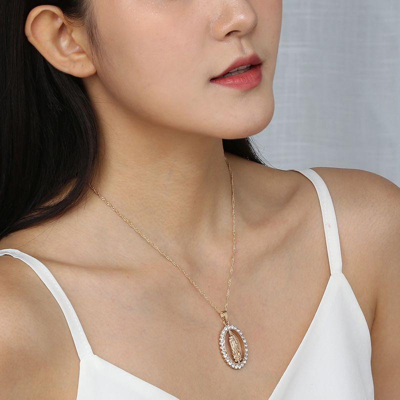 hot-selling Catholic Virgin Mary diamond fashion hip-hop style alloy pendant necklace NHAN243141