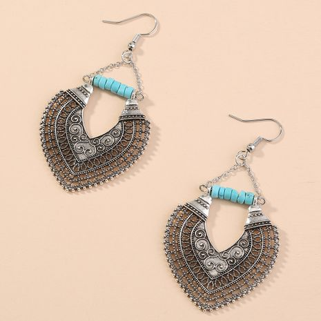 fashion beautifully carved heart-shaped retro ancient silver earrings wholesale nihaojewelry NHAN243144's discount tags