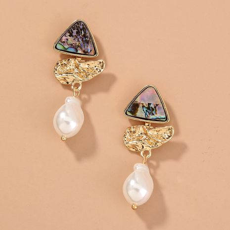 New split natural abalone shell triangle long pearl earrings wholesale nihaojewelry NHAN243147's discount tags