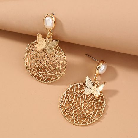 hot fashion exaggerated pearl round hollow metal butterfly earrings wholesale nihaojewelry NHAN243148's discount tags