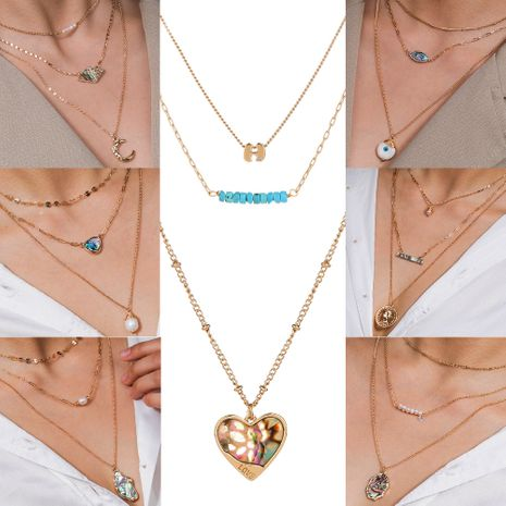 new hot-selling multi-element natural abalone pearl  combination metal multilayer alloy necklace NHAN243149's discount tags