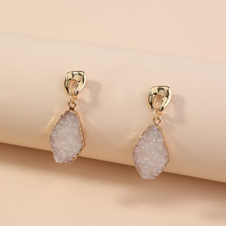 fashion white imitation natural stone geometric earrings wholesale nihaojewelry NHAN243150's discount tags