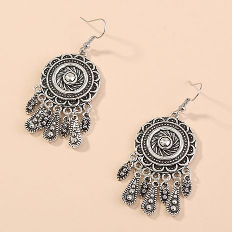 hot-selling ethnic style retro antique silver round tassel earrings wholesale nihaojewelry NHAN243151's discount tags