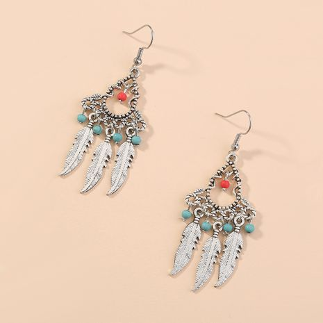 retro clan style creative design handmade water drop feather long exaggerated earrings wholesale nihaojewelry NHAN243152's discount tags