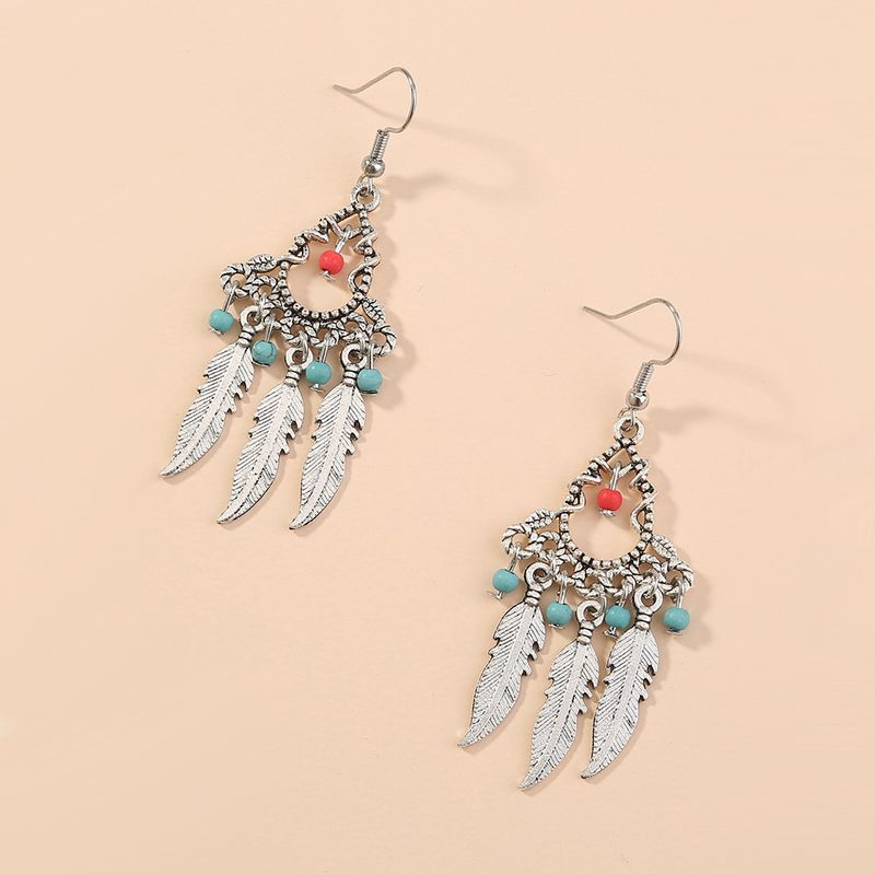 retro clan style creative design handmade water drop feather long exaggerated earrings wholesale nihaojewelry NHAN243152