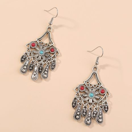 Bohemian retro exaggerated ethnic characteristics long water drop tassel earrings wholesale nihaojewelry NHAN243153's discount tags