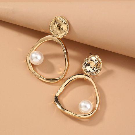 simple and versatile metal geometric pearl earrings wholesale nihaojewelry NHAN243154's discount tags