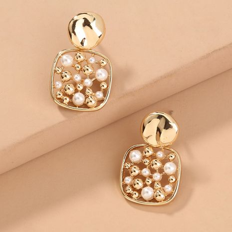 fashion hot-selling square pearl hollow short style all-match pineapple earrings wholesale nihaojewelry NHAN243155's discount tags
