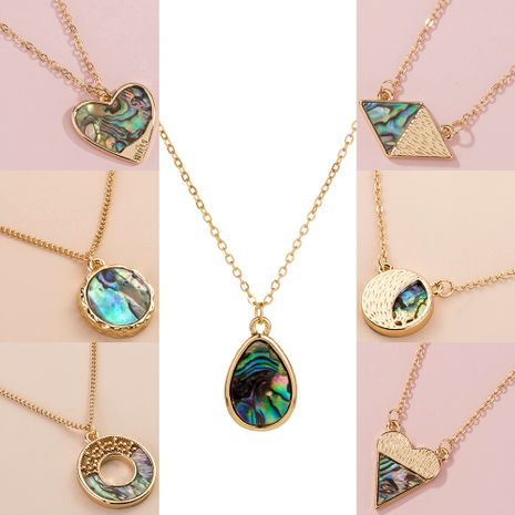 fashion design natural abalone shell geometric alloy pendant for women jewelry NHAN243156's discount tags