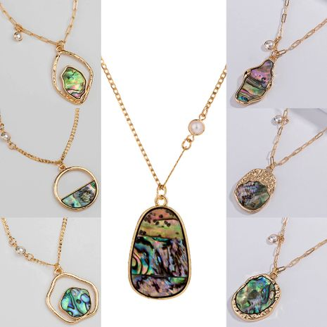 Fashion new simple  special-shaped natural color shell piece alloy necklace NHAN243163's discount tags