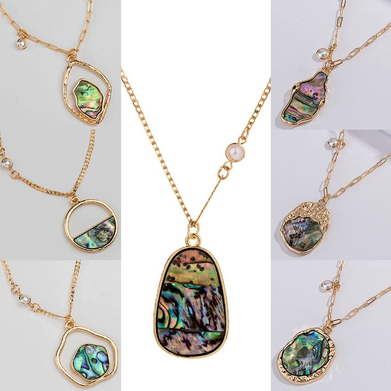 Fashion new simple  special-shaped natural color shell piece alloy necklace NHAN243163