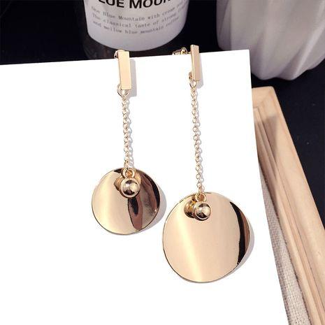 Korea fashion asymmetrical metal disc same silver needle earrings wholesale nihaojewerly NHFT243165's discount tags